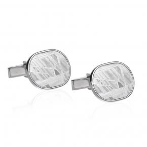 Meteorite and silver cufflinks