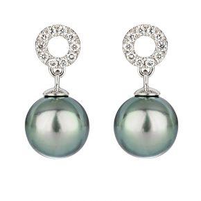 Runde Ohrringe Tahitiperle Weissgold und Diamanten