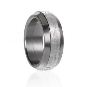 Meteorit Ring mit Stahl