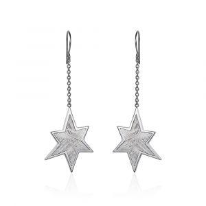 Stern-Ohrringe aus Meteorit und Silber