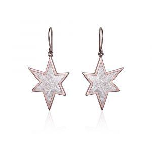 Stern-Ohrringe aus Meteorit und Rotgold