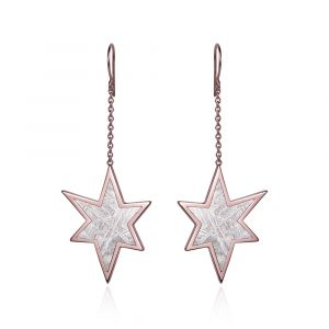 Stern-Ohrringe aus Meteorit und Rotgold mit Kette