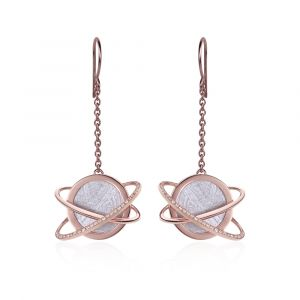 Boucles d'oreilles longues météorite Hélio diamants et or rouge