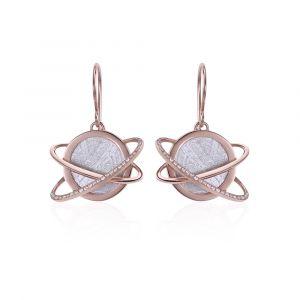 Boucles d'oreilles météorite Helio diamants et or rouge