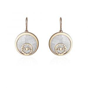 Boucles d'oreilles météorite Crop Circle Croissant de lune argent plaqué or jaune