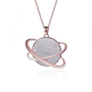 Pendentif météorite Hélio or rouge