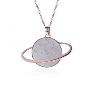 Pendentif météorite Saturne or rouge