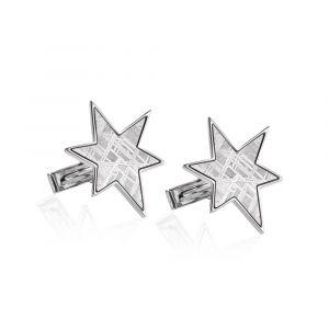 Stern Manschettenknöpfe aus Meteorit und Silber