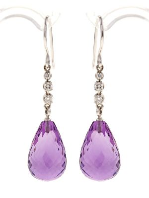 Amethyst Briolette Ohrringe mit Diamanten