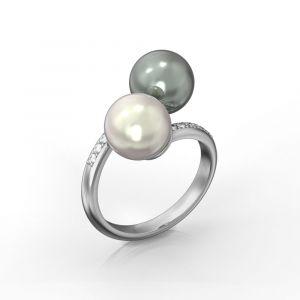 Toi et Moi Perlen- und Diamantring