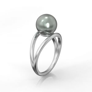 Ein doppelter Ring mit einer schwarzem Tahiti-Perle