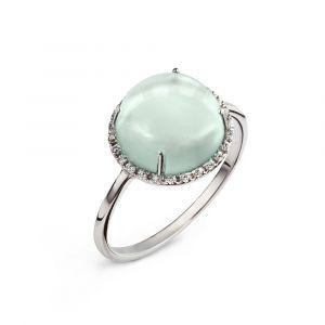 A prasiolite cabochon and diamonds ring