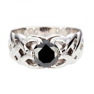 Black diamond Gipsy ring 1.75ct