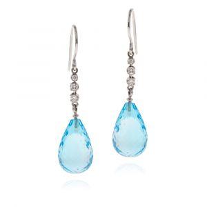 Topasblaue Briolette Ohrringe mit Diamanten