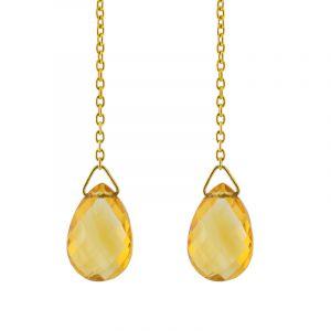 Boucles d'oreilles citrine or jaune