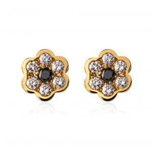 Boucles d'oreilles fleur et diamants