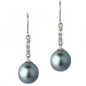 Boucles d'oreilles pendantes perle noire de Tahiti or gris et diamants