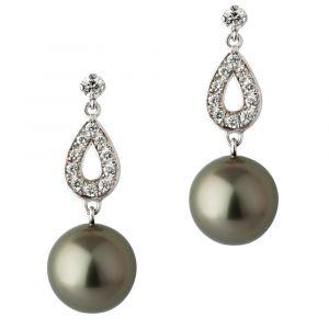 Boucles d'oreilles gouttes perle noire de Tahiti or gris et diamants