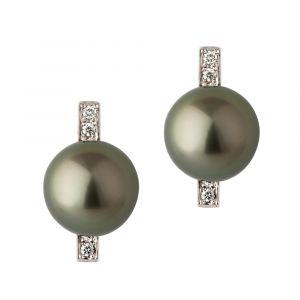 Boucles d'oreilles nouveau style perle noire de Tahiti or gris et diamants