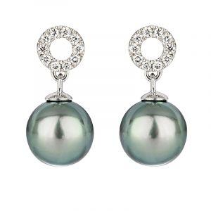 Boucles d'oreilles rondes perle noire de Tahiti or gris et diamants