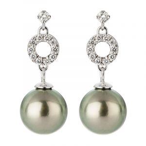 Boucles d'oreilles perle noire de Tahiti or gris et diamants