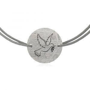 Meteorite bracelet dove of peace