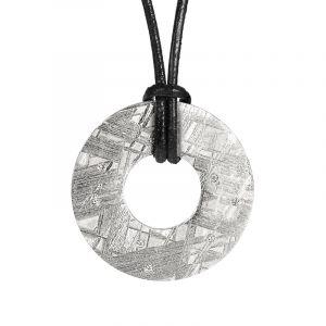 Pendentif météorite donut et diamants