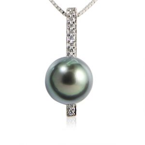Tahitian pearl pendant white gold and diamonds