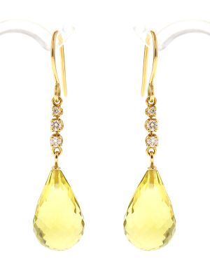Zitronen Quartz Briolette Ohrringe mit Diamanten
