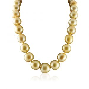 South Sea diamond and gold pearl necklace