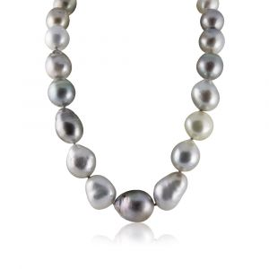 Black Tahitian pearl necklace silver color